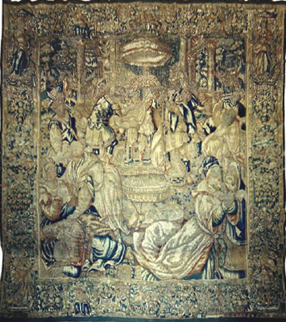 A BEAUTIFUL BRUSSELS TAPESTRY DEPICTING THE MURDER OF