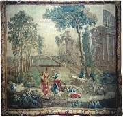 A FRENCH AUBUSSON WITH ROMANTIC SCENES,