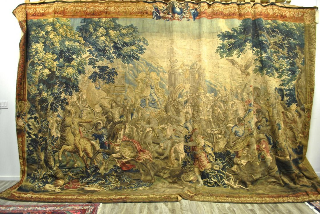A RARE BRUSSELS TAPESTRY DEPICTING A SCENE FROM THE LI