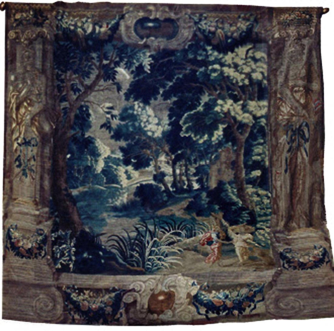 A FLEMISH MYTHOLOGICAL TAPESTRY DEPICTING DIANA AND P