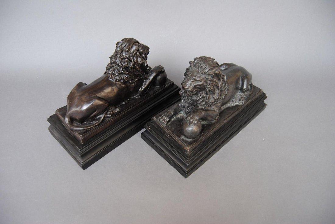 A Pair of BRONZE Sculpted Lions ,
