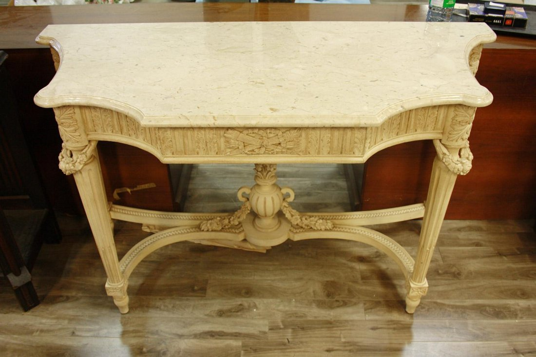 A LOUIS XV-STYLE CREAM-PAINTED MARBLE CONSOLE TABLE,