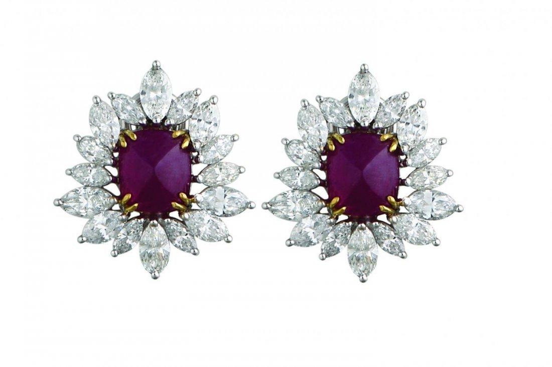 Ruby sugarloaf and diamond earrings