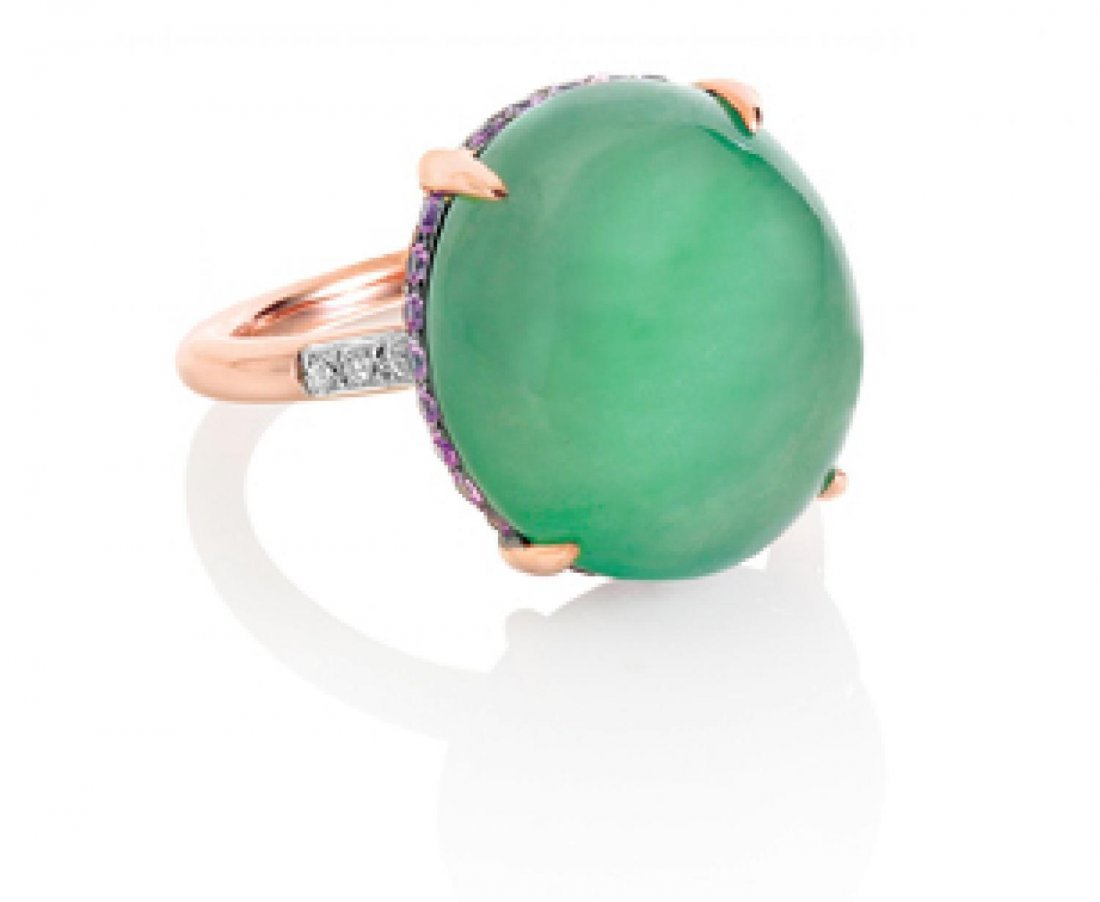 A JADEITE AND PINK SAPPHIRE RING, 天然