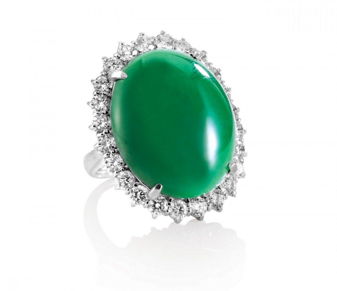 SPECTACULAR JADEITE AND DIAMOND RING, 天然