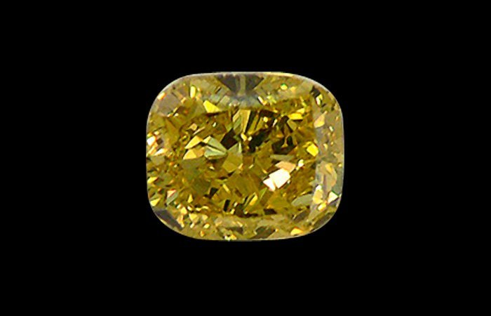 A 2.34CT FANCY YELLOW CUSHION SHAPE CERTIFIED   IF