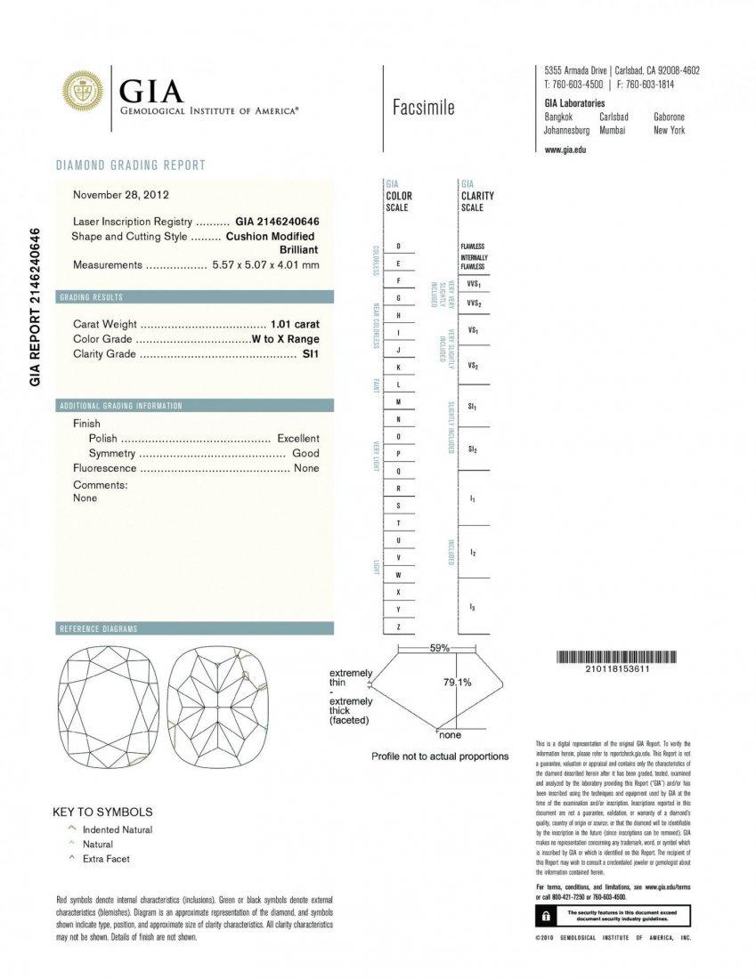 A 1.01CT W-X COLOURED CUSHION SHAPE CERTIFIED   SI1