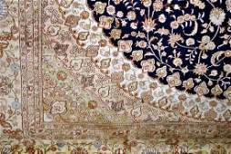 A BEAUTIFUL CHINESE QUM ORIENTAL RUG IN BLUE, CREAM,