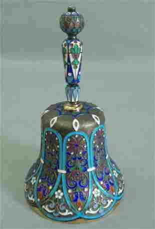 ANTIQUE RUSSIAN 88 SILVER GILT BELL CLOISONNE ENAMEL