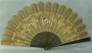 Antique Ladies Fan Hand-Painted Silk & Ebony Wood Paris