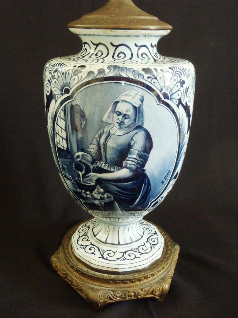 Museum Quality 19-th Century Delft Holland Signed Lamp