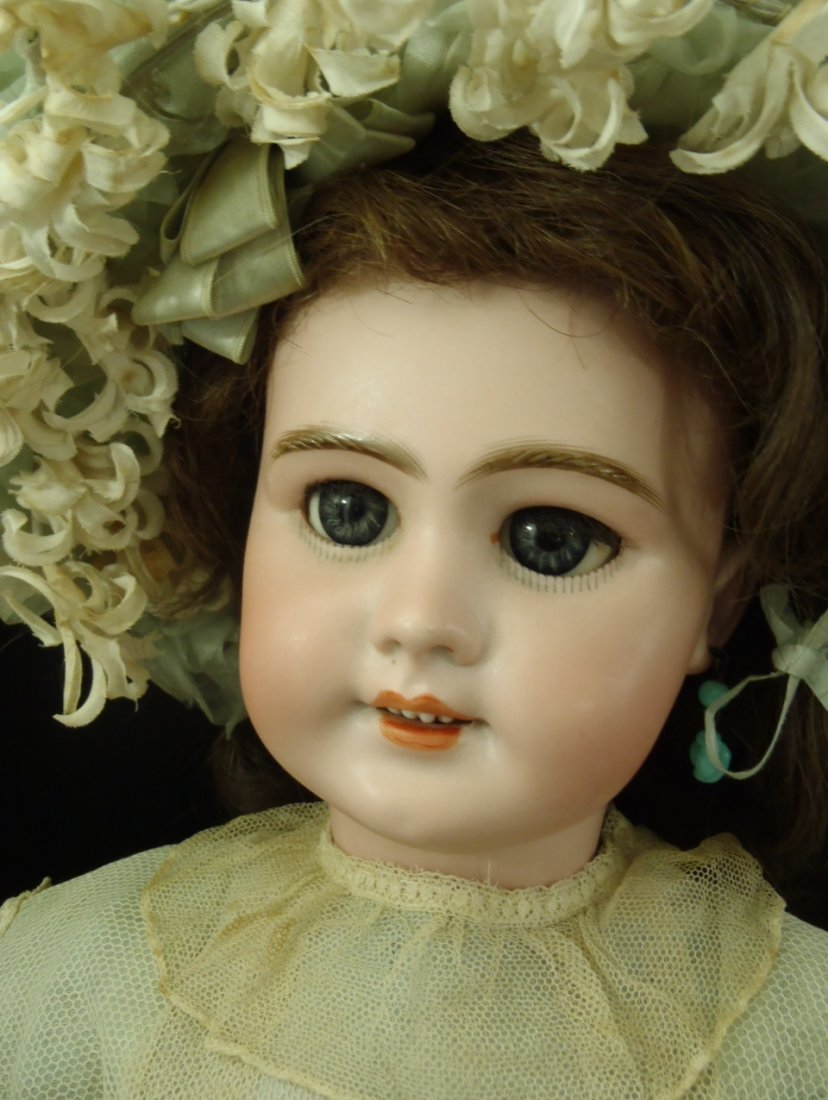 FRENCH BISQUE BEBE JUMEAU ORIGINAL COSTUME & CRIER