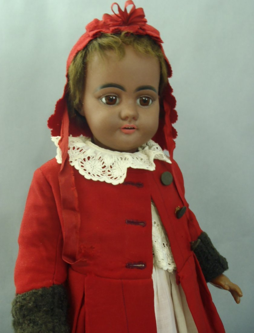 ALL ORIG. BROWN-COMPLEXION BISQUE DOLL BY SIMON HALBIG