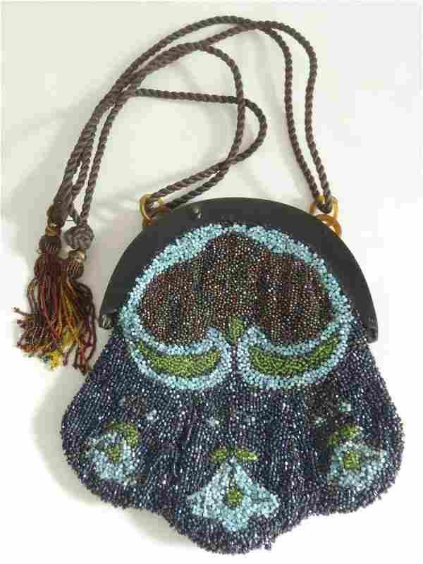 Antique Art Nouveau Celluloid & Glass Beads Purse