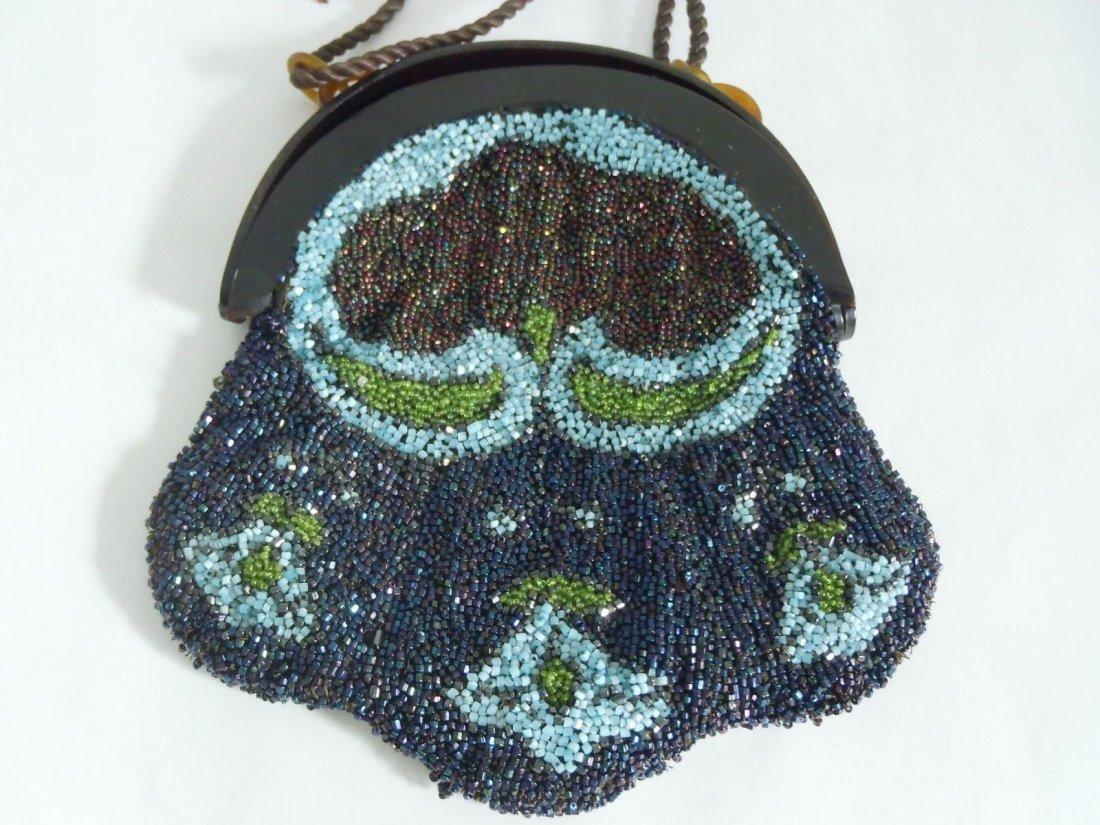 Antique Art Nouveau Celluloid & Glass Beads Purse - 2