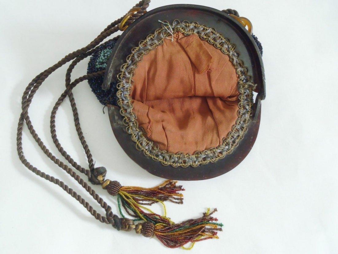 Antique Art Nouveau Celluloid & Glass Beads Purse - 4