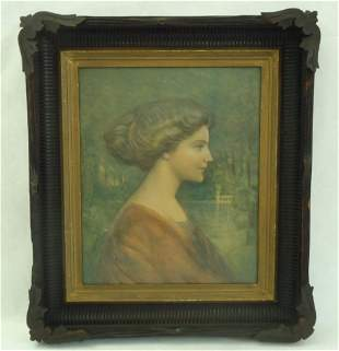1900's Framed 3-D Lithograph by CHARLES WARDE TRAVER