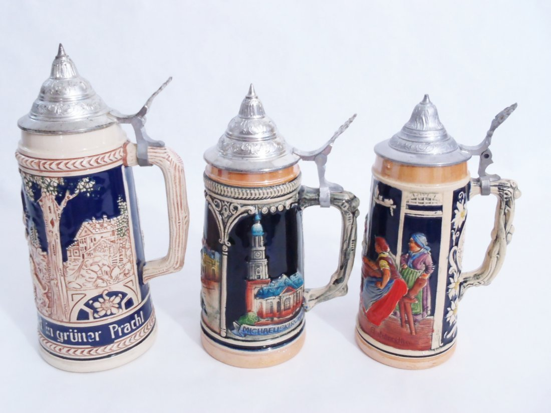 GERMAN STONEWARE STEINS lot of 3