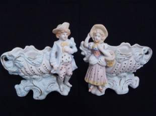 Pair Japan bisque Victorian Boy & Girl vases Signed