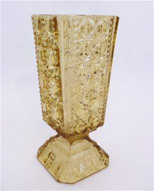Antique EAPG Amber Pattern Glass Vase