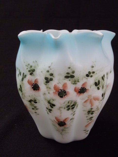 Antique Mt.Washington Satin Hand Painted Blue Art Glass