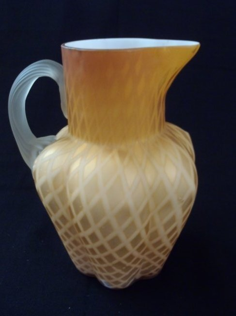 Hand Blown 1880's Phoenix Glass Air Trap Mop Pitcher