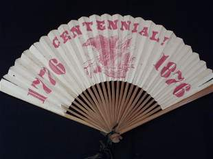 Antique c1876 World Fair Philadelphia Centennial Fan