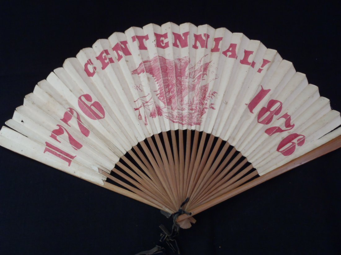 Antique c1876 World Fair Philadelphia Centennial Fan