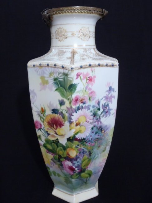 Antique Hand painted Victorian Vase/Table lamp base