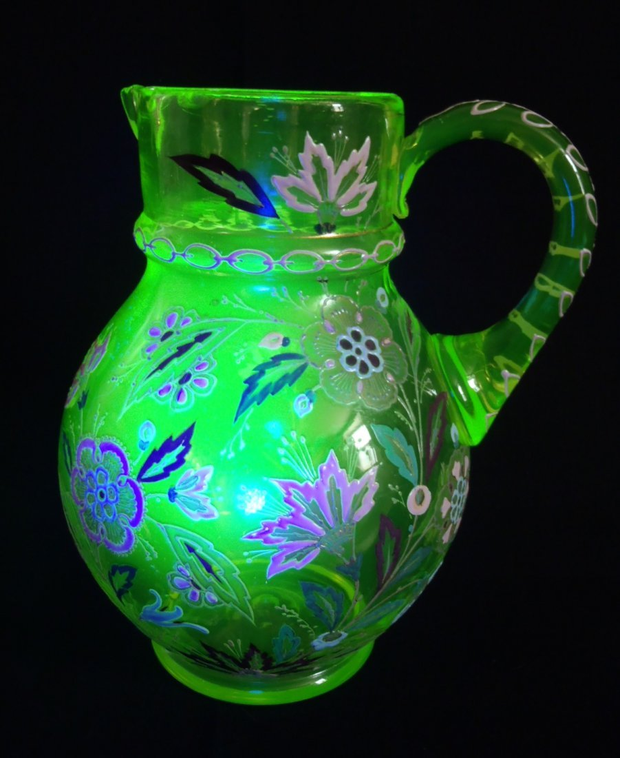 Antique Vaseline Uranium Glass Hand Painted Enamel