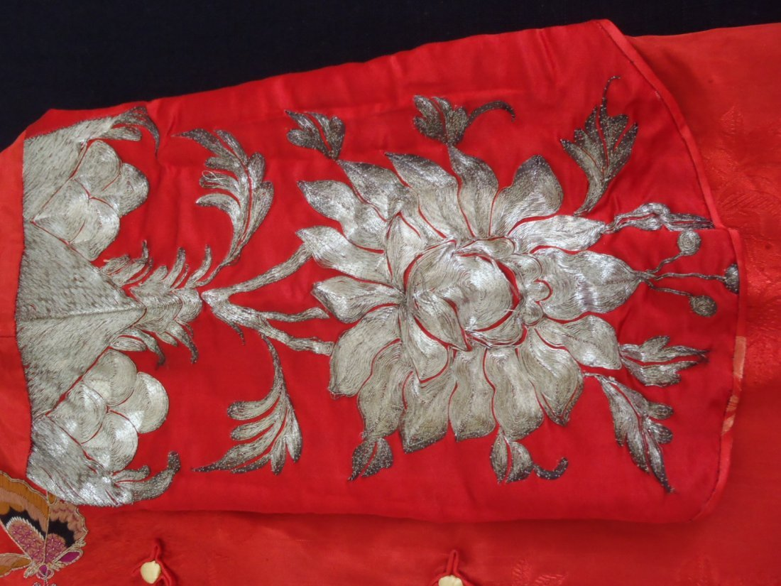 Antique Chinese Silver Threads Embroidery Jacket