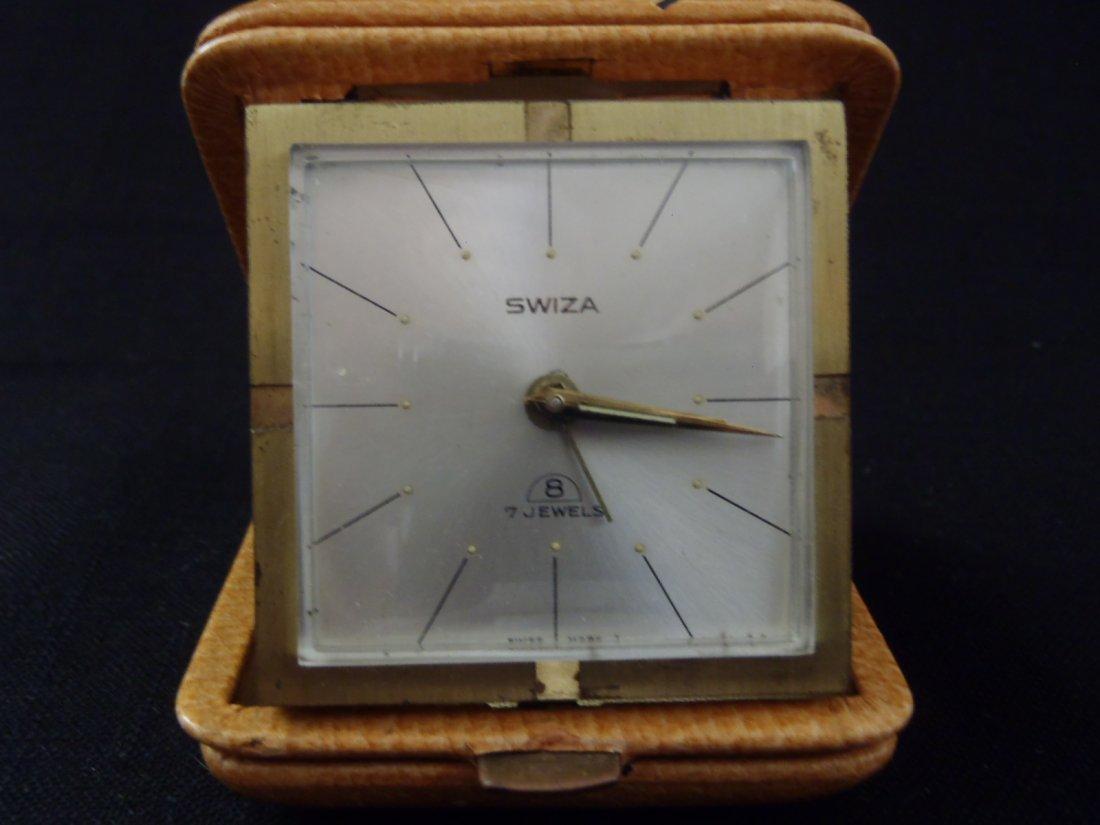 SWIZA 7 Jewels winding ALARM Travel Clock Leather case