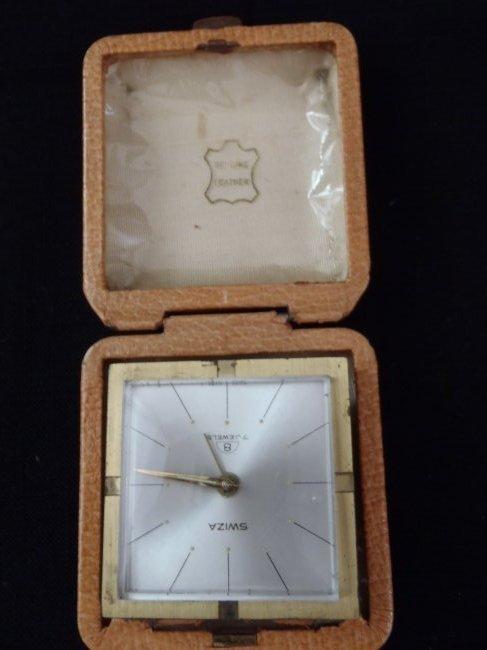 SWIZA 7 Jewels winding ALARM Travel Clock Leather case - 2