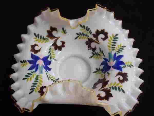 VICTORIAN HAND PAINTED CASED GLASS BASKET