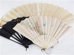 Beautiful Genuine Antique Silk Fan lot of 3 pcs
