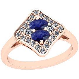 1.33 Ctw VS/SI1 Blue Sapphire And Diamond 14K Rose Gold