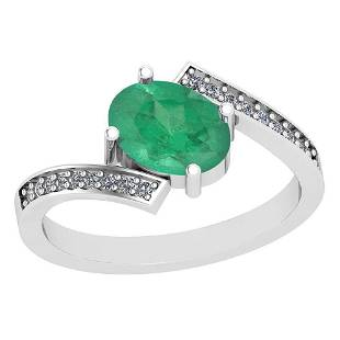 135 Ctw Emerald And Diamond I2I3 14K White Gold Vinta