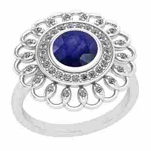 149 Ctw Blue Sapphire And Diamond I2I3 14K White Gold