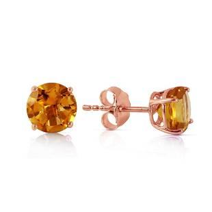 095 Carat 14K Solid Rose Gold Petite Citrine Stud Earr