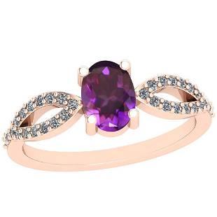 064 Ctw Amethyst And Diamond I2I3 10K Rose Gold Vinta
