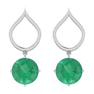 300 Ctw Emerald Style Prong Set 14K White Gold Earring