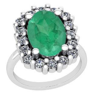 508 Ctw VSSI1 Emerald And Diamond 14K White Gold Vint