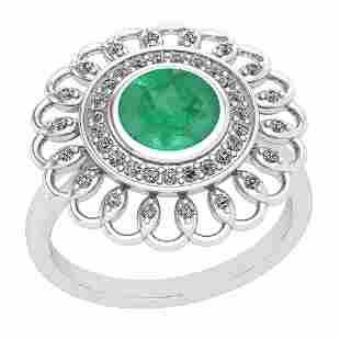 149 Ctw Emerald And Diamond I2I3 14K White Gold Vinta