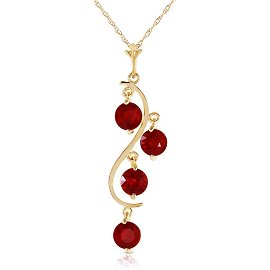 2 CTW 14K Solid Gold Bare Truth Ruby Necklace
