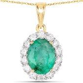 2.24 Carat Genuine Zambian Emerald and White Diamond 18