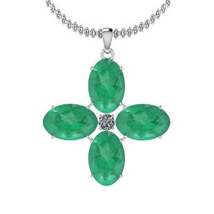 1029 Ctw Emerald And Diamond I2I3 14K White Gold Vict