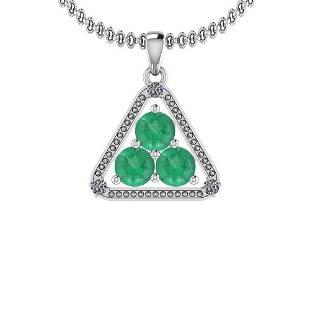160 CtwVSSI1Emerald And Diamond Platinum Pendant