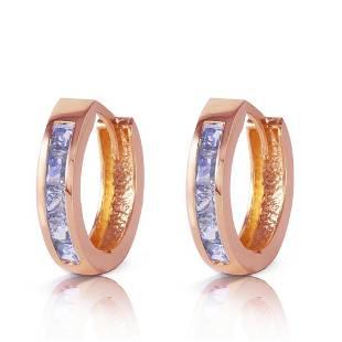095 Carat 14K Solid Rose Gold Huggie Hoop Earrings Tan