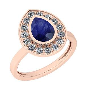 177 Ctw Blue Sapphire And Diamond I2I3 14K Rose Gold