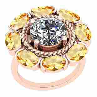500Ctw I2I3 Citrine And Diamond 10K Rose Gold Vintage